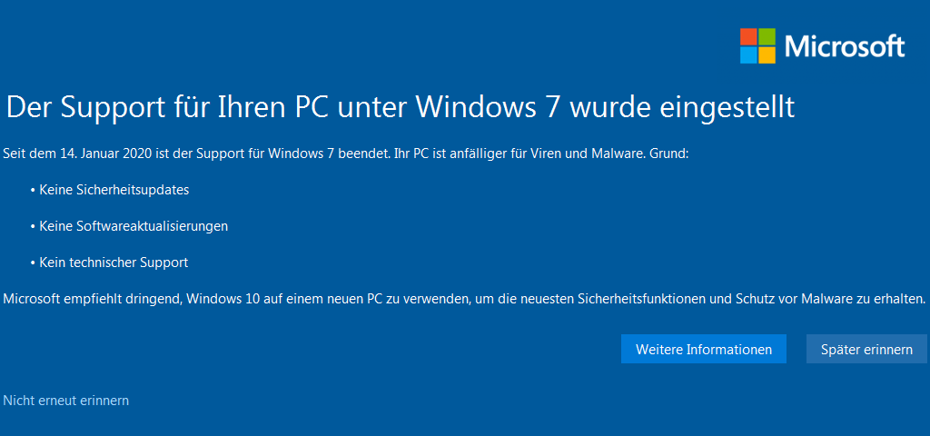 Meldung vom Windows-7-Supportende