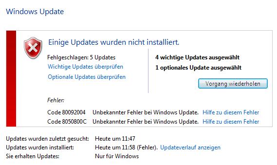 Meldung Windows 7 - Updatefehler