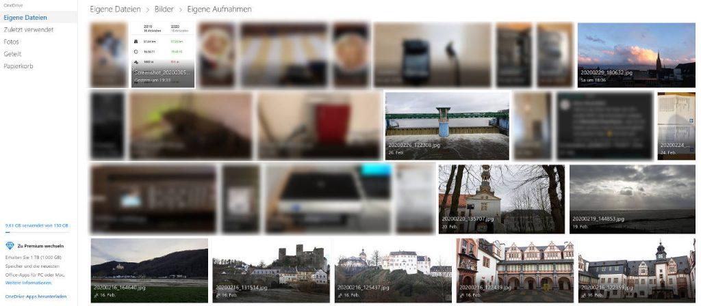 """Darstellung """"Eigene Aufnahmen"""" im Browser"""